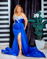 2021 Plus Size Arabic Aso Ebi Blue Mermaid Sexy Prom Dresses Lace Beaded High Split Evening Formal Party Second Reception Bridesmaid Gowns Dress ZJ204