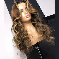 Highlight Human Hair Perücken Körperwelle Spitze Front Perücke Peruanisches Haar Remy 13x6 Ombre Honig Blondine und Braun Highlight Perücke