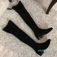 Martin boots classic knee-high boot their import custom mirror and high elastic fabric shoes Western sheepskin three highly optional Size