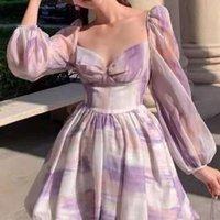 Casual Dresses Purple Floral Print Lantern Sleeve Mini Dress Women's Sweet Square Neck Tie Dye Princess Long-sleeved Trend 2021
