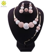 Earrings & Necklace African Jewelry Sets Crystal Colorful Bracelet Ring Women Round Design Set Wedding Bridal