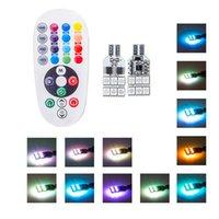 RXZ 2PCS / SET LED T10 RGB W5W Светодиод с пультом дистанционного управления RGB Интерьер купольный клин для чтения света автомобиля дверь света стробоскоп лампы