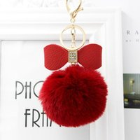 Keychains Faux Fur Pompon Keychain Women Key Chain Rhinestone Leather Bow Knot Artificial Ball Bag Pendant Car Ring Gift S338