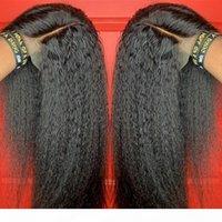 Kinky 스트레이트 가발 13x4 레이스 프론트 인간의 머리 가발 여성을위한 아기 머리 브라질 레미 이탈리아어 야키 가발