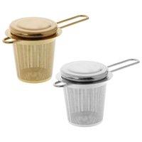 Strumenti da tè Reusable Maglia TEAS Infusore In Acciaio Inox Filtro Acciaio allentato Teiera Filtro spezia con coperchio Cups Accessori da cucina