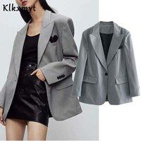 Klkxmyt 2021 Mode Check Blazer Frau Jacke Weibliche Büro Casual Langarm One Knöpfe Taschen Frauen Blazer Mantel