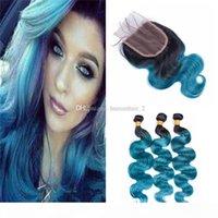 Два тона 1b голубые омревые пакеты волос девственных волос с кружевной закрытием темные корневые волны волосы волосы волосы с 4 * 4 кружевной закрытием