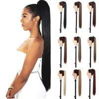 """Synthetic Wigs LISI GIRL 30"""" 22"""" Long Straight Ribbon Fake Ponytails Clip On Hair Tail Natural Pieces With Hairpins"""
