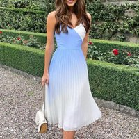 Casual Dresses Patchwork Pleated Dress For Women 2021 Summer Gradual Change Camis Sexy