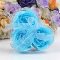 Forma de corazón Jabón de rosa PVC Caja de PVC Papel de flores hecho a mano Papel de flor Papel Rose Valentines Día Fiesta de cumpleaños Regalos 160 V2
