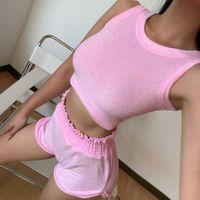 Sportswear Mulheres Verão Sólida Cor Mangas Sem Mangas Vest Shorts Casual Sportswear Mulheres 2497