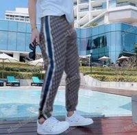 21SS Hombre Diseñador Pantalones Jacquard Tela Doble Letra Hombres Pantalón Pantalones Casuales Pantalones Negro Gris Azul