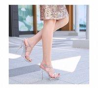 2020 Sandali di gomma di vetro macchiato caldo Sandali delle donne Tacchi alti 12 cm Sandali femminili Sandali Nightclub Piattaforma Acciaio Scarpe da tubo di acciaio Modello Show Shoes Shoes Ladies T7dl #