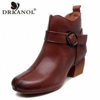 DRKANOL Handmade Echtes Leder Frauen Knöchelstiefel Vintage High Heels Stiefel Winter Seite Reißverschluss dicke Ferse Schuhe Frau Y69k #