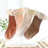 Socks Born Baby Girl Lace Knee Anti Slip Cotton For Girls Princess Long Autumn Winter Stockings 2021