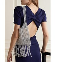 Evening Bags 2021 Female Silver Tassel Beaded Shoulder Bag Niche Design Vintage Handmade Woven Handbag Fashionable Purses
