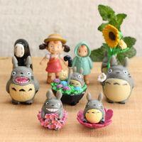2021 9 adet / takım Mini Kız Peri Bahçe Figürinler Komşum Totoro Minyatürleri Reçine El Sanatları Moss Mikro Peyzaj Ev Süslemeleri Hızlı Gemi