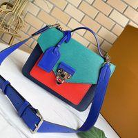 Bolso de mujer Bolso Crossbody Bolsa Flap Messenger Bags Cuero Cuero Cuero Patchwork Color Magnético Hasp Silver Block Hardware Strap Ajustable Strap Satchel Tote 55403