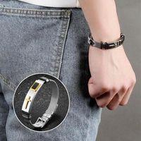 Link, Chain Stylish Bracelet For Men Cross Pattern Titanium Steel Wrist Strap Hip Hop Jewelry Accessories Gift Women B99