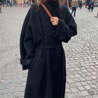 Women's Wool & Blends LANMREM Thickened 2021 Winter Street Wear Adjustable Waist Loose Single-breasted Black Brown Woolen Coat For Female 2A