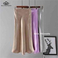 Bella Yellow Purple Silk Skirt Summer Satin Trumpet High Waist Silver Gold Metallic Color Party 210724