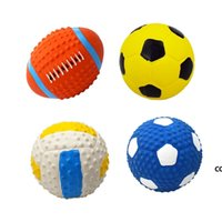 Soft Latex Pet Dog Toy Ball Squeak Toys Cleaning Tooth Chew Voice ToyPet Supplies Non-toxic Training Balls Durable DHB7918