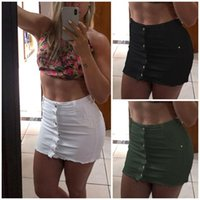Skirts Womens Summer Button Denim High Waist Bodycon Slim Flit Pencil Short Mini Hip Skirt Party Club Shorts
