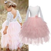 Spitze Mädchen Lange Kleid Kinder Pageant Kleidung Kinder Tutu Schicht Kleid Mädchen Unregelmäßige Kugelkleider für 3 4 5 6 7 8T Babykleidung 210303