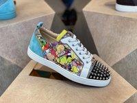 Paris Designs Casual Schuhe Junior Herren Skate Sohlen Wohnungen Frauen, Männer Graffiti Glitter Rot Unterseite Niedriger Oberteil Sneaker, Maze Print Leder