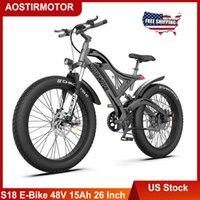 US сток AOSTREMOTOR S18 Электрический велосипед 750 Вт 26 дюймов 4,0 Жирная шина Ebike 48V 15ah Литиевая батарея Батарея Beach Cruiser City Горный велосипед