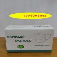 Cajas de embalaje Caja en inglés Exquisito Máscara de envasado Cara desechable Blanco Paquete de cartón para máscaras puede personalizar J7IT