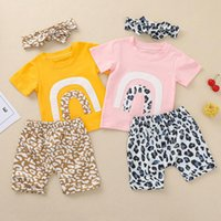 Clothing Sets Baby Girl Clothes Toddler Kids Rainbow Tops Tee Leopard Shorts Headbands Set 3pcs Outfits Cotton Summer Infant