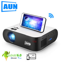 AUN Mini Projector W18 اختياري W18C Wireless Sync Display for Phone LED Projector for 1080P Video for Home Seart