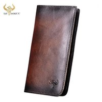 Wallets 2021 Male Crazy Horse Leather Coffee Checkbook Business Card Holder Chain Organizer Long Men's Wallet Purse Design Clutch 86451