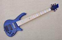 Fabrika özel 5 dizeleri mavi elektrik bas gitar, akçaağaç klavye, beyaz inci fret kakma, kül gövdesi, özelleştirilmiş teklif