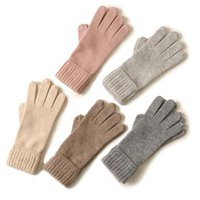 Five Fingers Gloves Cashmere Knit Women's Striped Keep Warm