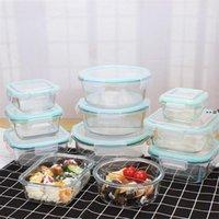 Récipient de stockage de nourriture de 1040 ml avec couvercles en verre repas préparez-vous conteneurs de préparation de verre hermétique Bento boîtes de bento BPA Free Fuite Proof HHE9380