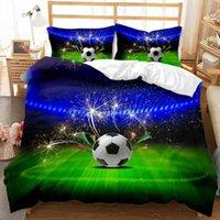 Bedding Sets Special 3D Soccer Queen Size Football Comforter Set For Kids Cool Duvet Lightweight Bedroom Decor Bed 3PCS