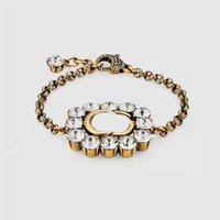 Letra de diamante Cadeia Bracelete Cristal Braceletes Menina Rhinestone Pulseira Retro Ouro Charme Braceletes para Presente Senhoras