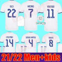 Jersey Real Madrid 21 22 Chemises de football de football Sergio Ramos Benzema Asensio Modric Marcelo Camiseta Hommes + Kids Kit 2021 2022 Uniformes Quatrième