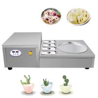 Pan simple Tailandia Fry Hele Cream Machine con 4 tanques de enfriamiento Máquina de rollo de helado frito de acero inoxidable