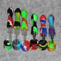10mm Tubi in silicone Silicone Silicone Silicone DAB Page Simple Design Silicon Nectar Collector con punte per unghie in titanio al quarzo
