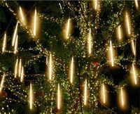 À Prova D 'Água 3 Cores UE Plug Garland 8 Tubos LED Meteor Chuveiro Chuva Clara Luz 50cm 30 cm Icicle Snowfall Decoração Xmas Decoração 746 K2