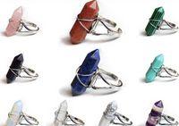 Nuovi anelli esagonali Anelli Gemstone Rock Natural Crystal Quartz Healing Point Chakra Charms Charms Charms Apertura Anelli per le donne uomini