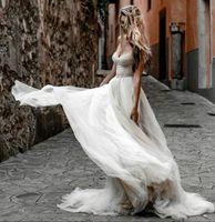 Милая Богемные свадебные платья 2021 без спинки Fairy мягкий тюль Западная страна Девушки невесты Приемное платье Vestidos de Novia