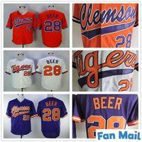 NCAA College Clemson Tiger Baseball Jersey 28 Seth Bier Jersey Weiß Orange Lila Home Away Herren Größe S-XXXL