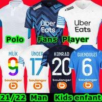 Marseille soccer jersey Olympique De 21 22 OM 2021 2022 maillot foot Milik CUISANCE THAUVIN LUIS HENRIQUE KAMARA PAYET ALVARO HOME AWAY football shirts men + kids kit