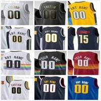 Custom stampato Denver 15 Jokic Jamal 27 Murray Nikola Michael 1 Porter Jr. Facundo 7 Campazzo Nuggets Uomo Donna Bambini Giovani Giovani Basket Maglie