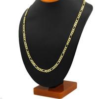 14K Amarillo Real Solid Gold GF 8mm Italiano Figaro Link Cadena Collar de cadena de 24 pulgadas Envío gratuito Todos los artículos de una casa sin humo, sin mascotas 60 R2