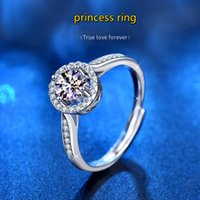 0.5ct 1ct Moissanite Princess Ring 925 Sterling Silver Opening Adjustable Women Diamond Ring Wedding Party Bridal Fine Jewelry